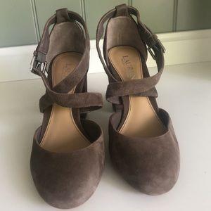 💜Lauren Ralph Lauren Suede Brown Chunky Heel Size 7
